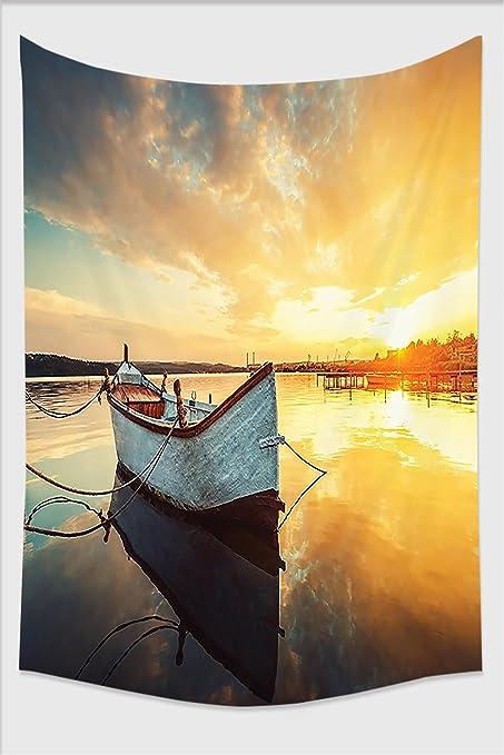 Amazon.com: Nalahome-Lake House Decor Small Boat on Water with ...