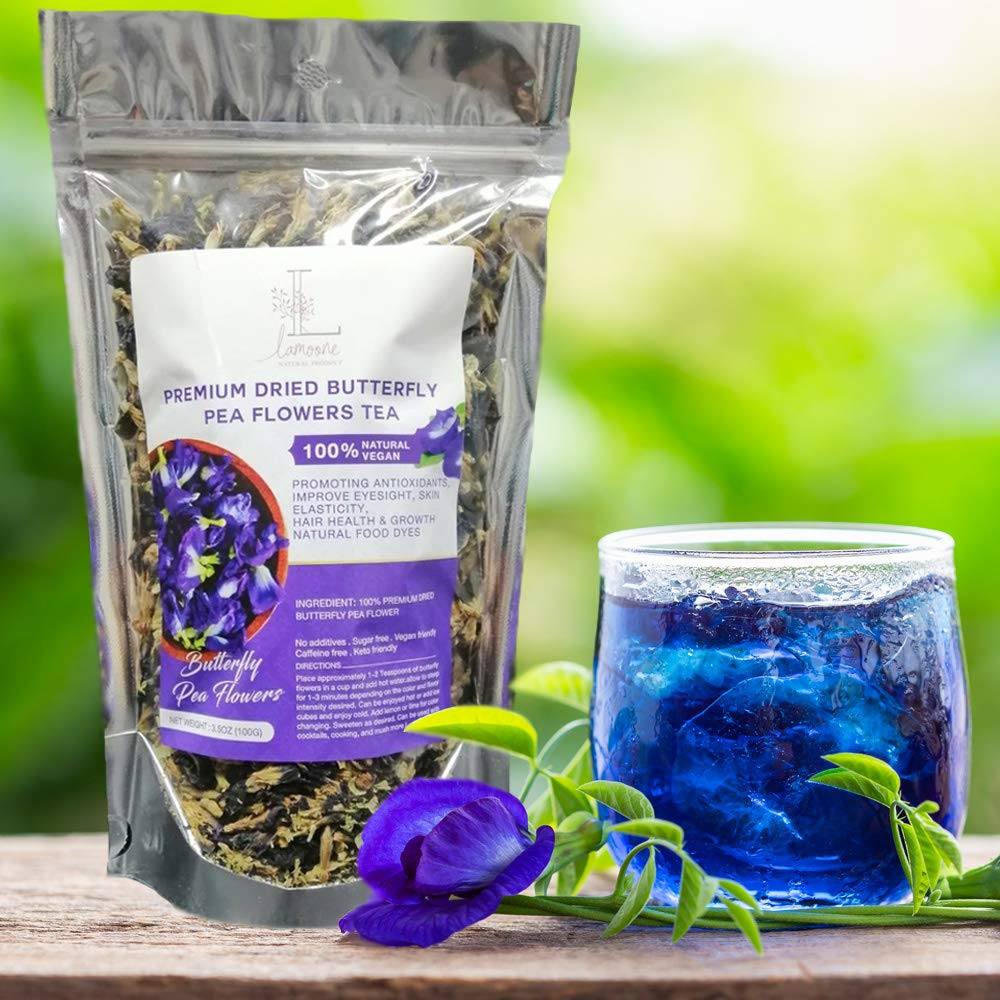 Pure 100 % Natural Butterfly Pea Flower Healthy Organic Herbal Blue Tea, Natural recipes food coloring Antioxidants , Organically Grown in Thailand 100g. (3.52 OZ)