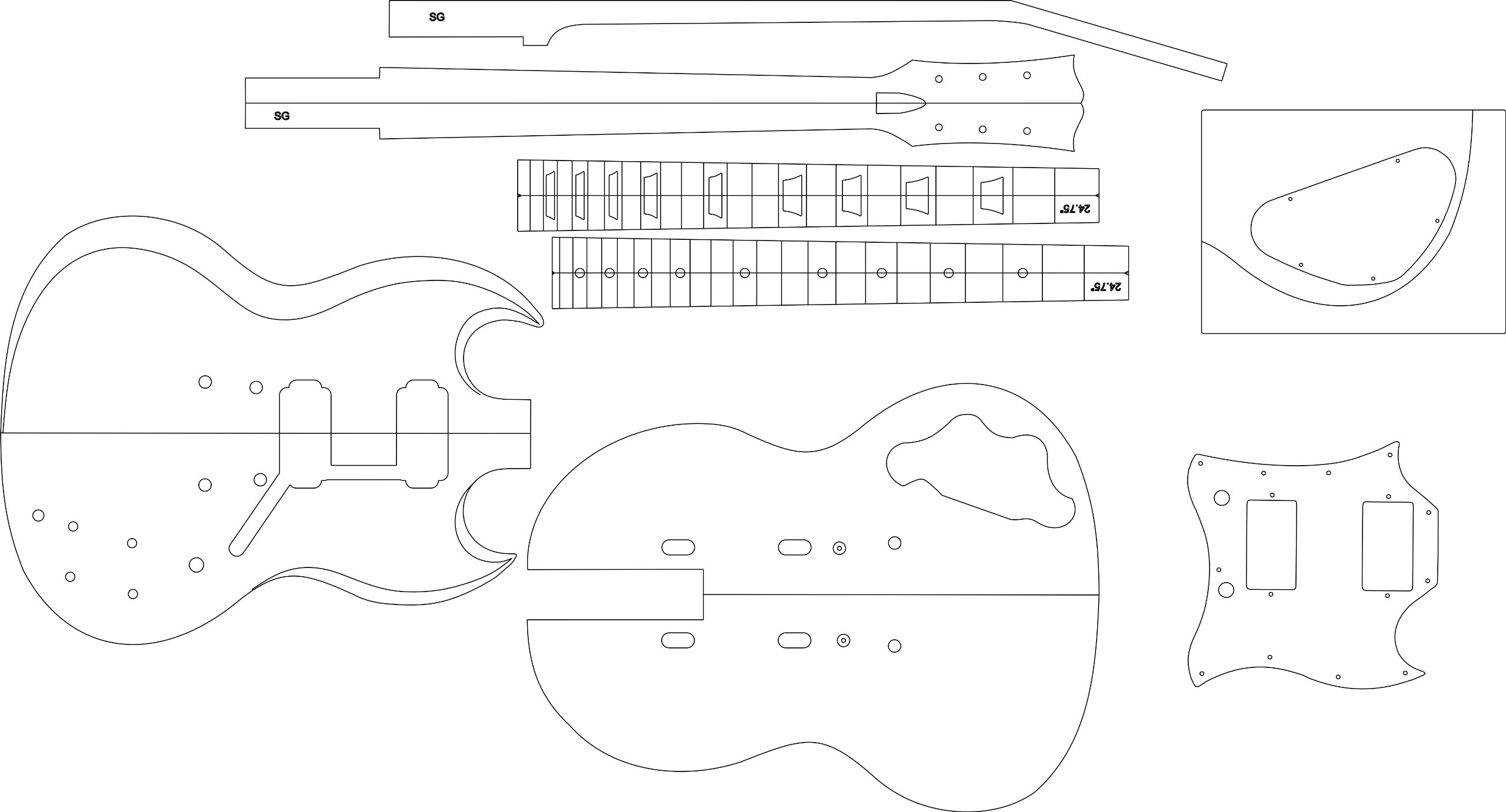 Electric Guitar Layout Template - SG by GPC