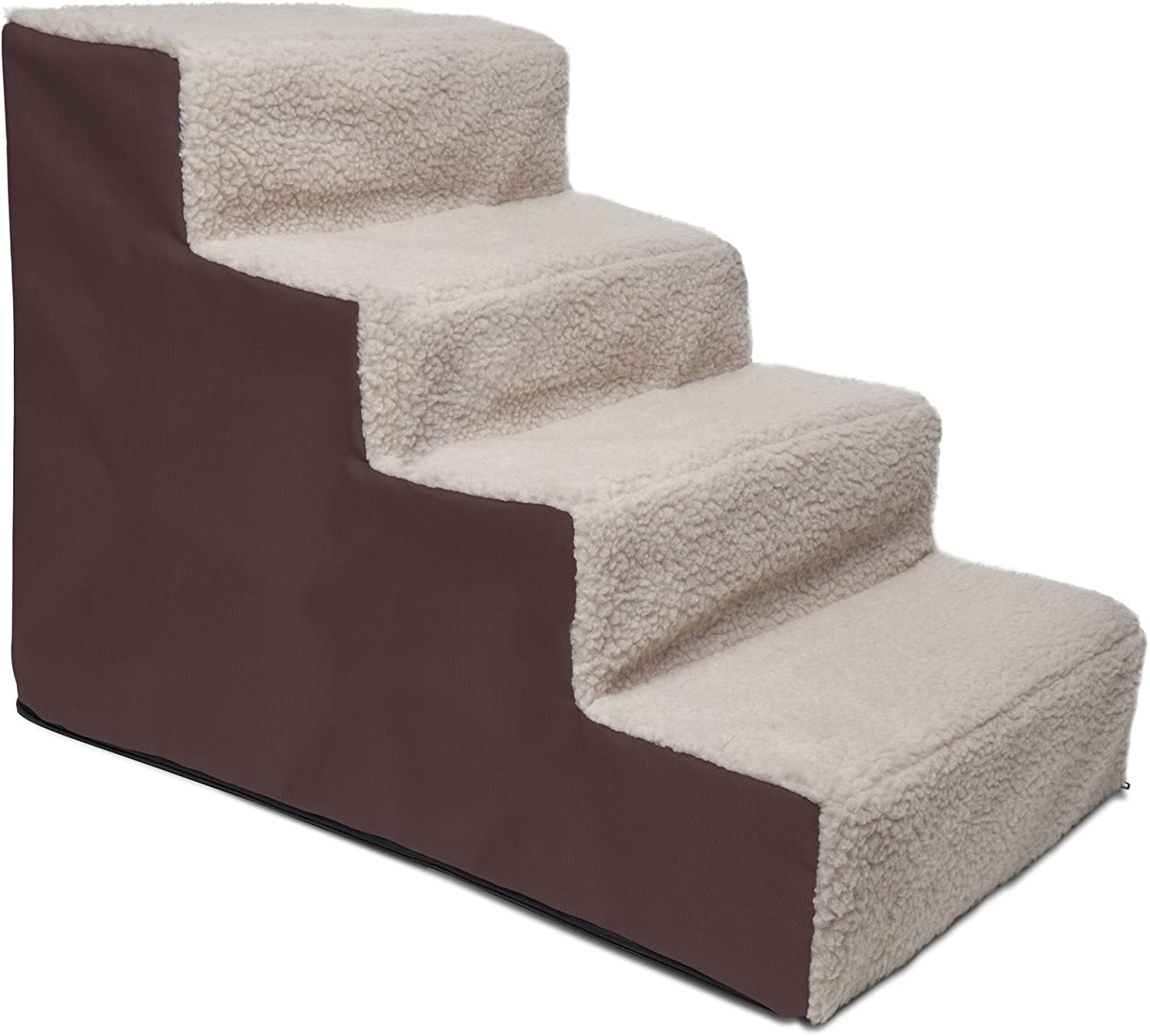 Paws Pals Dog Stairs to get on High Bed for Cat and Pet Steps at Home or Portable Travel Up to 175 lbs – Brown