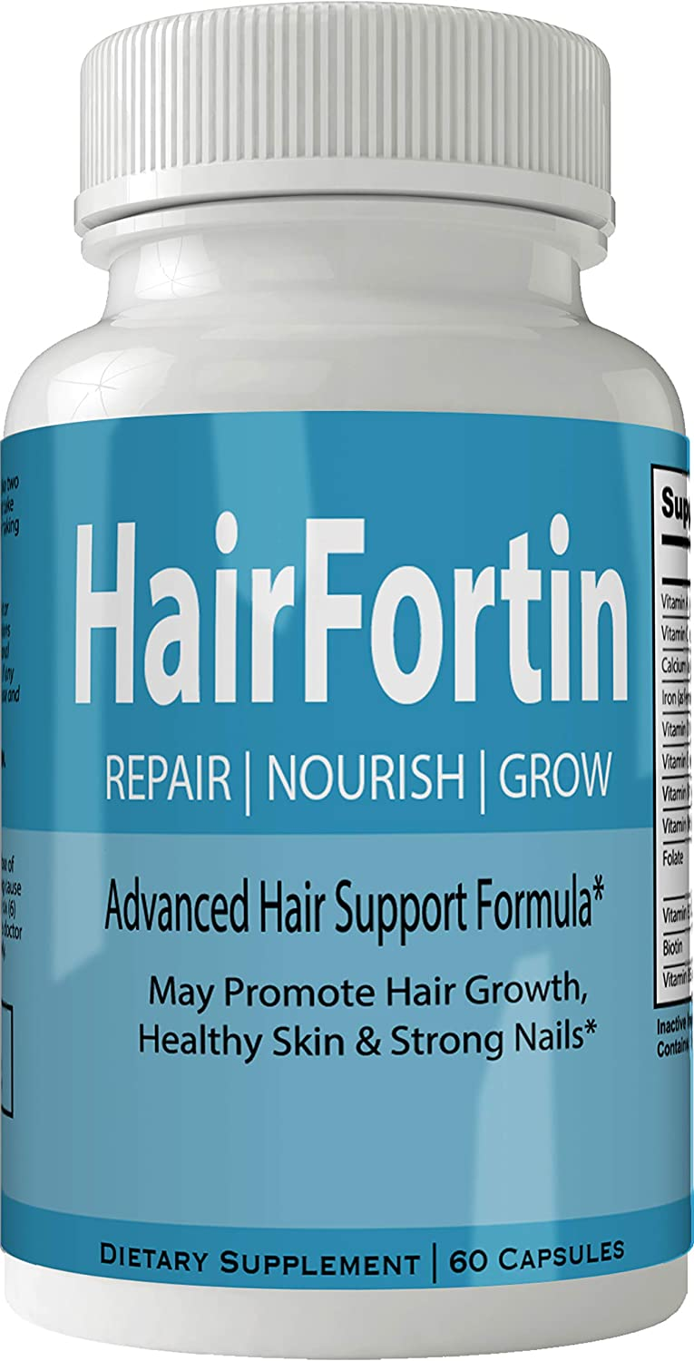 Hairfortin Hair Skin and Nails Supplement - Advanced Unique Hair Growth Vitamins and Minerals with Biotin - Gluten Free 60 Capsules - Hair Lash Skin and Nails Extra Strength Formula Growth Booster