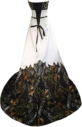 Haokeda Camo Wedding Dresses A Line Camouflage Embroidery Satin Bridal Gowns At Amazon Women S Clothing Store