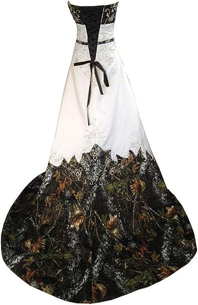 Haokeda Camo Wedding Dresses A Line Camouflage Embroidery ...