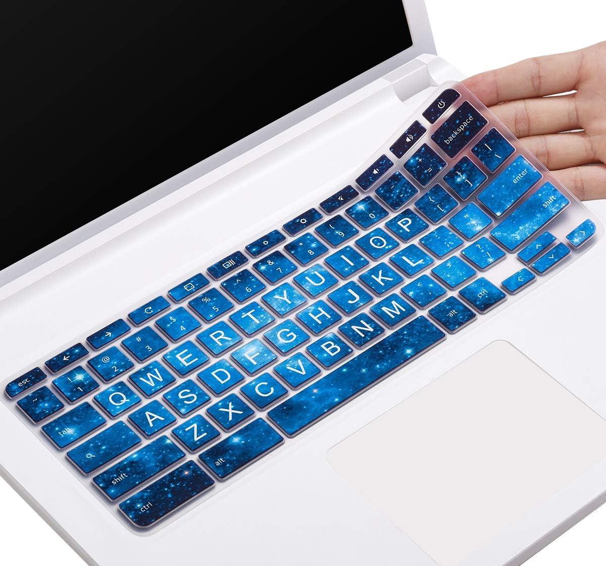 CaseBuy Keyboard Cover for Acer Chromebook Spin 11 CP311 C738T CB3-131 CB3-132 CB5-132T/Chromebook Spin 13 CP713 CB5-312T/Acer Chromebook 14/Chromebook 15 CB3 CB5 CP315 CB515(Upper CASE, Blue Stars)