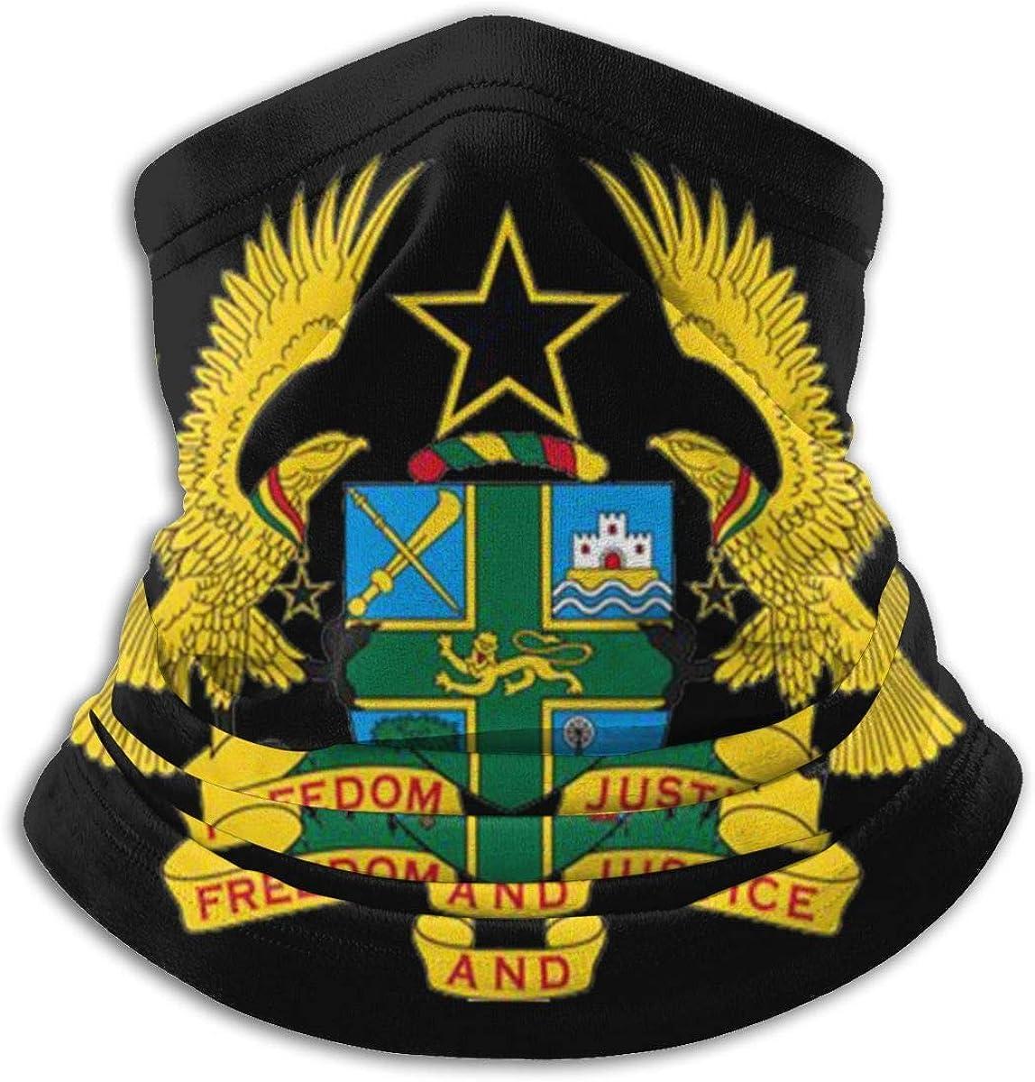 Ghana Eagle Castle Badge Flag Calentador de cuello Bufanda Polaina Mascarilla Bandanas para polvo Clima frío Invierno al aire libre Festivales Deportes para hombres y mujeres