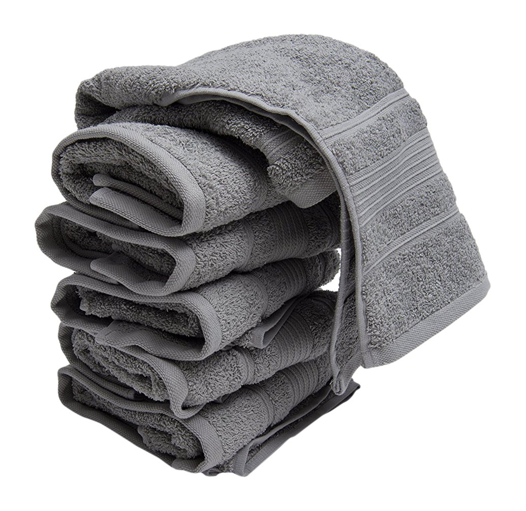 Ottomanson 8 Piece Pure Cotton Collection of 100% Authentic Towels, 13 x 13, Brown 13 x 13 CTW1008-13X13