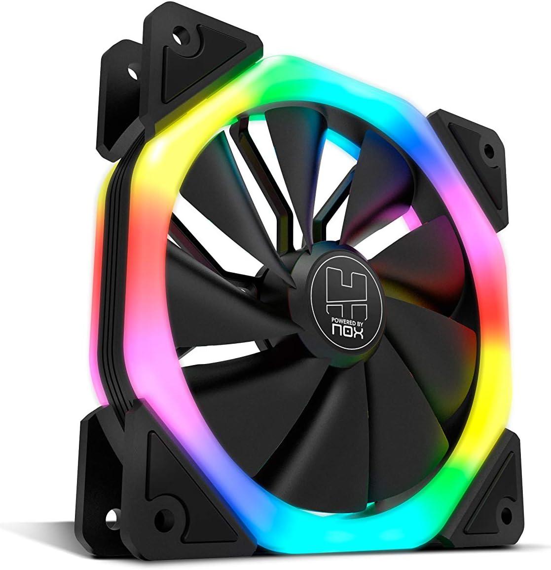 Nox DFAN - NXHUMMERDFAN - Ventilador para caja de ordenador, 120 mm, Doble anillo LED RGB rainbow
