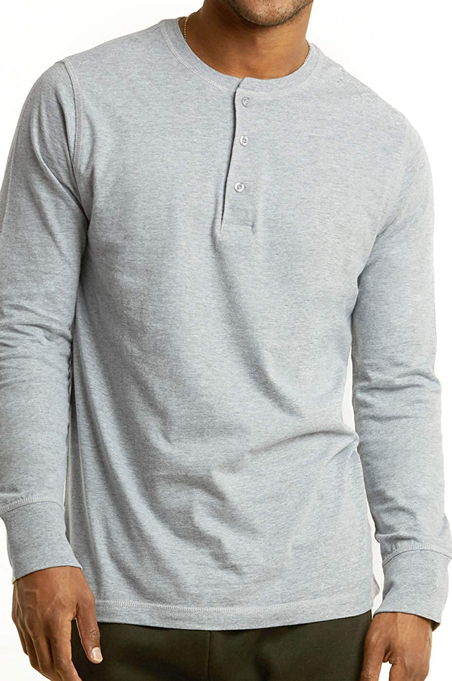 Mens Casual Slim Fit Long Sleeve Cotton Henley T Shirt