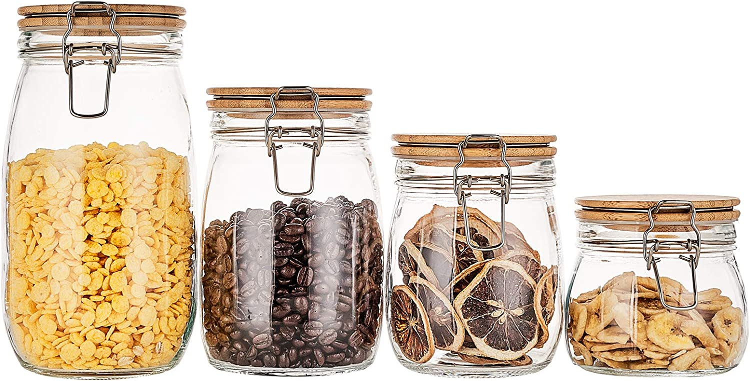 RESYOTE Glass Jar Airtight Food Storage with Bamboo Lids Kitchen Canisters Set Pack of 4 for Sugar, Candy, Cookie, Rice and Spice Jars