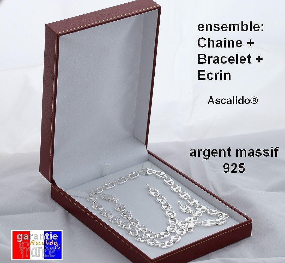 ASCALIDO Ensemble collier 55cm et bracelet 21cm graine de cafe large pour homme en argent massif 925 poin/çonn/é avec son /écrin pour offrir