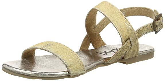 XYXYX Sandal, Damen Knöchelriemchen Sandalen, Gold (Gold/Nature), 38 EU