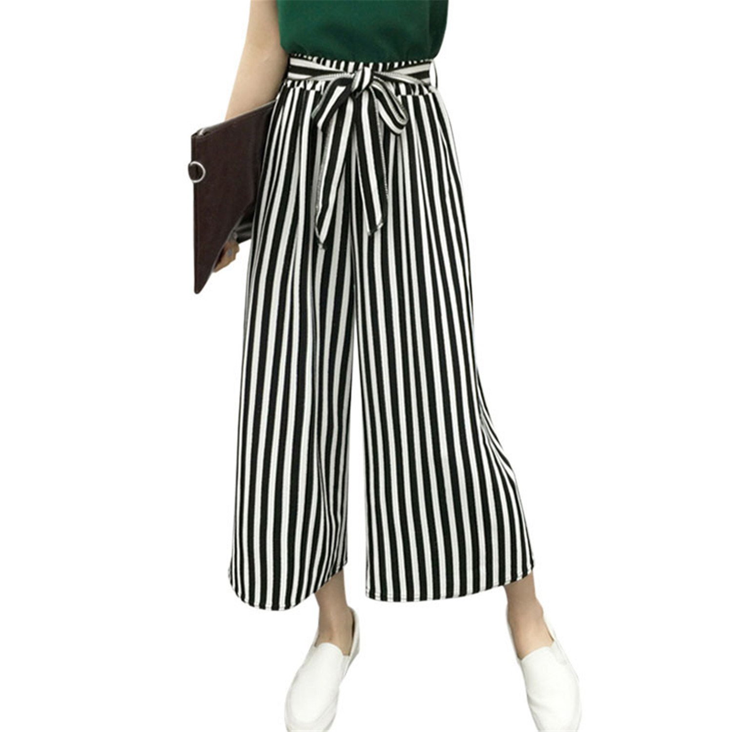 Fashion Summer Hot Selling Ladies Office Trousers Loose Wide Leg Pants Woman High Waist OL Casual Office Pants for Women Fine Black Bars M by Rainlife pants (Image #4)