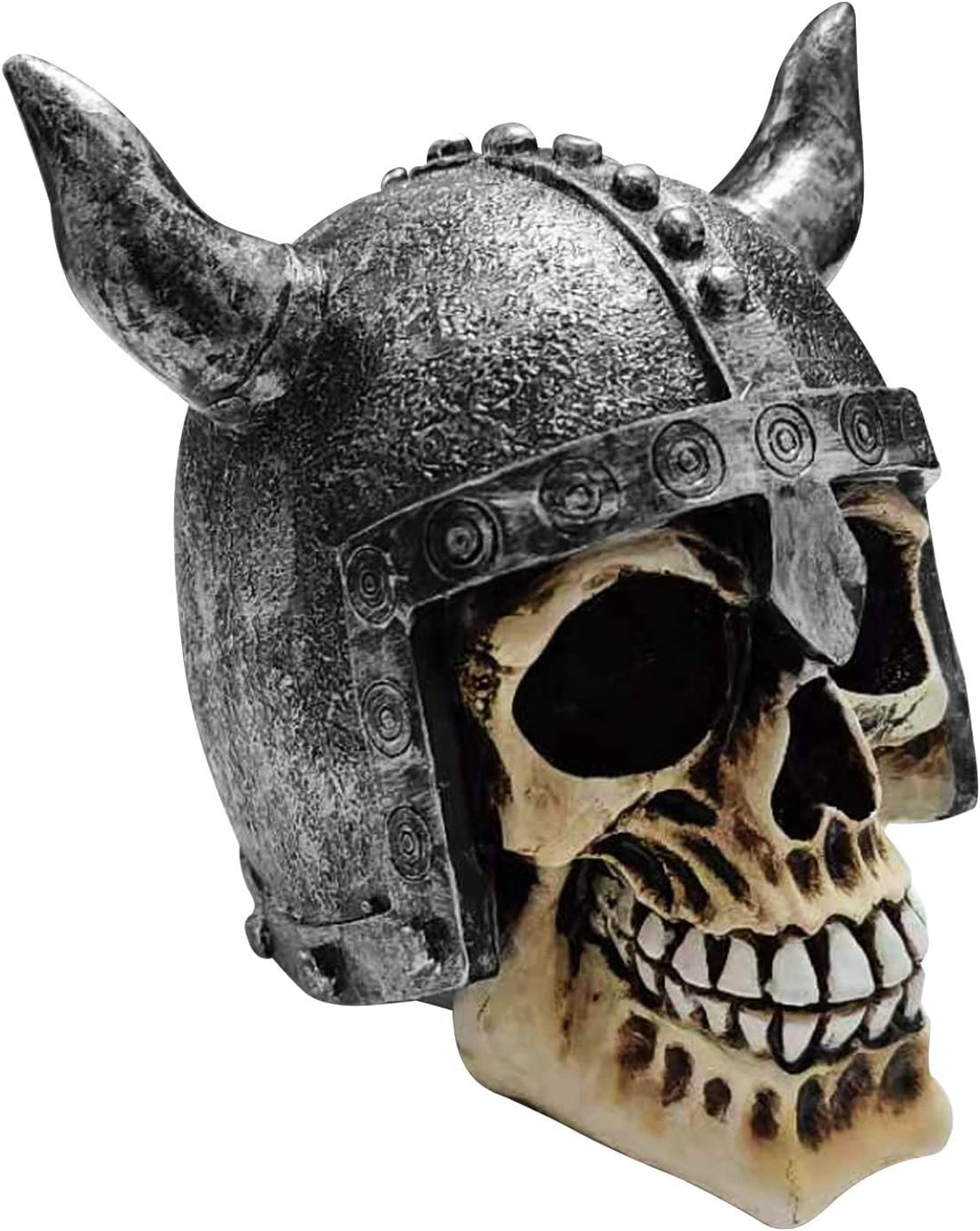 Human Skull Statue Home Décor, Resin Craft Skull Statue with Viking Helmet Skull Figurines Sculpture Home Decoration Accessories