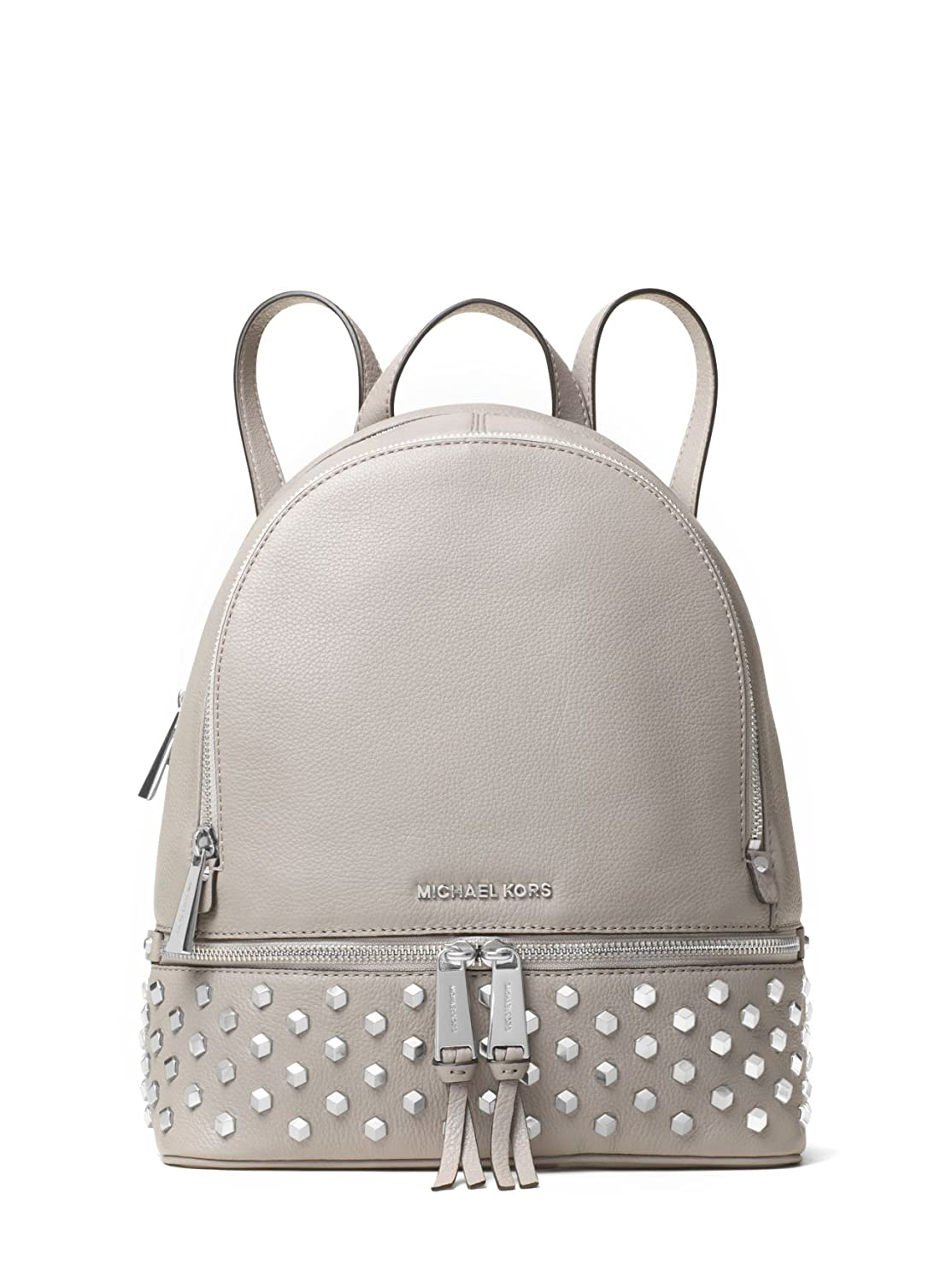 e3bfedd8f9e5 MICHAEL MICHAEL KORS Rhea Medium Studded Leather Backpack (Pearl Grey):  Amazon.co.uk: Shoes & Bags
