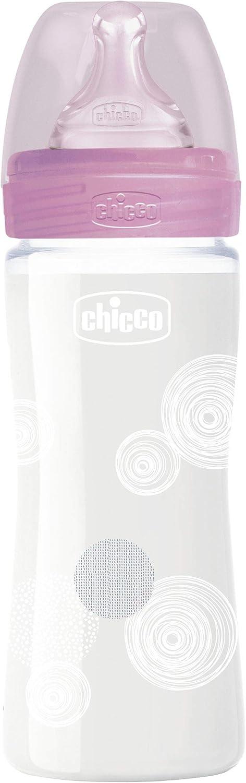 240 ml 280 g Chicco Benessere Biberon Flusso Lento in Vetro Tettarella in Silicone