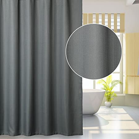 Lintimes Waffle Fabric Shower Curtain Large Mildew Resistant Bathroom 72x72inchGrey100 Polyester Amazoncouk Kitchen Home