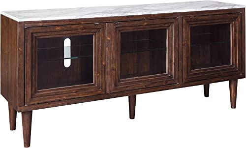 Signature Design by Ashley – Graybourne Accent Cabinet – White Faux Marble Top – 3 Glass Shelves – Brown