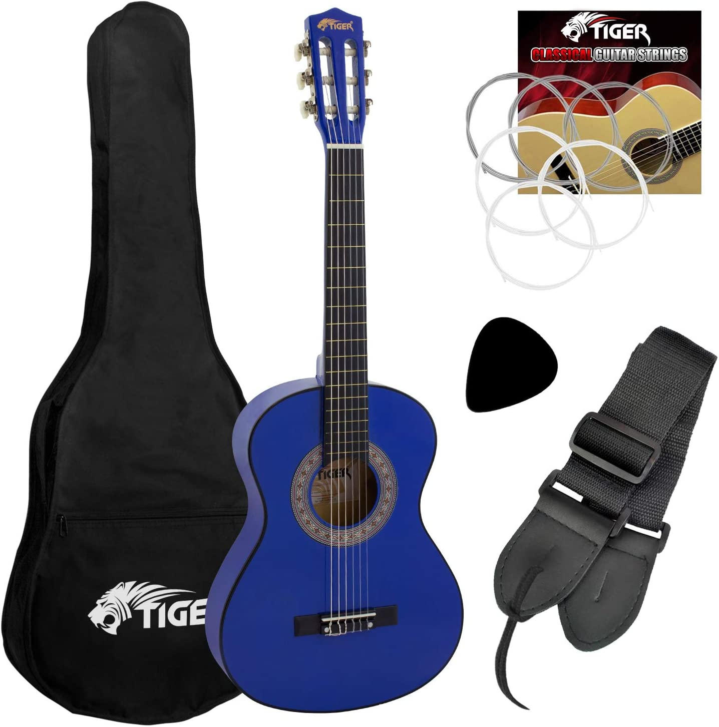 Tiger CLG6-BL - Guitarra clásica (tamaño 1/2), color azul: Amazon ...