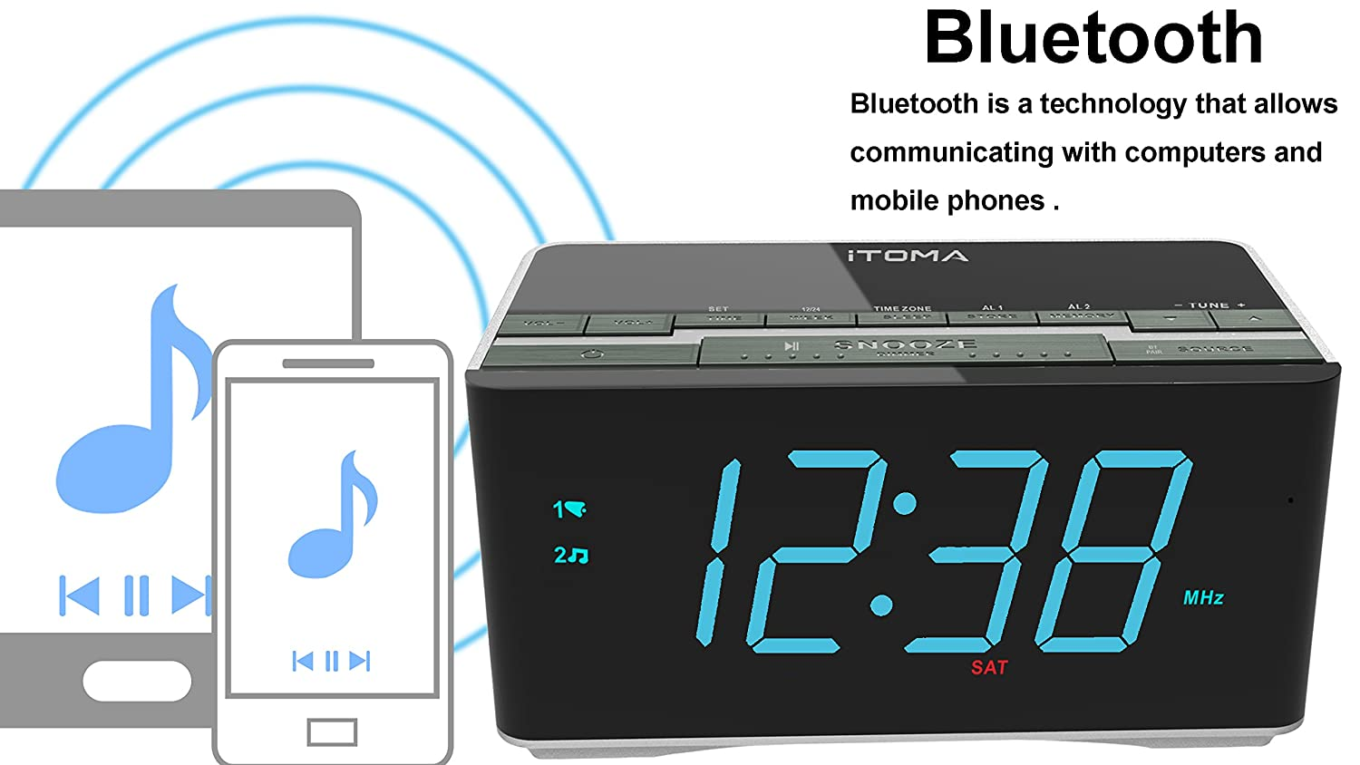 Itoma Alarm Clock Radio With Wireless Bluetooth Stereo Breaker Panel Wiring Likewise Military Time On Can Light Speakersdigital Fm Radiodual Snoozeauto Dimmercell Phone Usb Charging