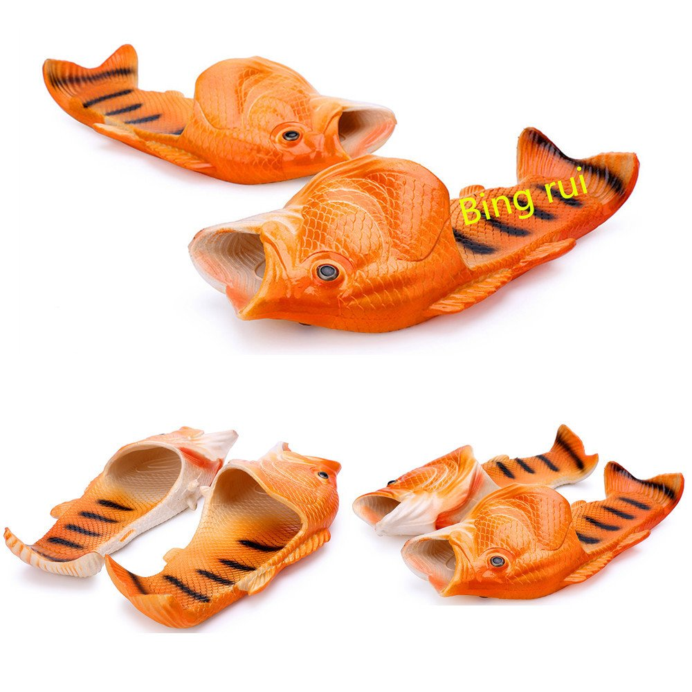 3 colors Fish slippers Beach Shoes Pool Non-slip Sandals Creative Hand painted Fish Slippers Men and Women Casual Shoe Beach and home use (red, woman (7-8) / Male(6-6.5)) by BING RUI CO (Image #1)