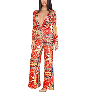 a37a4e48d21 Amazon.com  Wide Leg Jumpsuits for Women Sexy Elegant Long Sleeve Jumpsuit  Rompers Floral Pant Suits  Clothing
