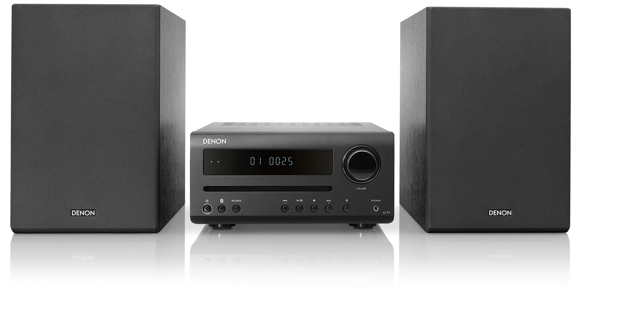 Denon D-T1 Home Theater Mini Amplifier and Bookshelf Speaker Pair - Compact HiFi Stereo System with CD, FM/AM Tuner and Wireless Bluetooth Music   Perfect for Small Rooms and Home Cinema