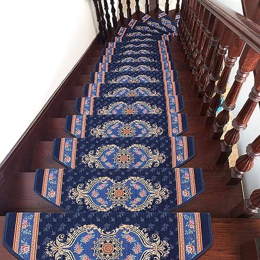 Ditan Escalera de la Alfombra Runner, no Slip Huellas de escalón Alfombra Conjunto de 5, Cubierta aceptan Mascotas Huellas de escalón (Color : Azul, tamaño : 5pcs(65×24cm)): Amazon.es: Hogar