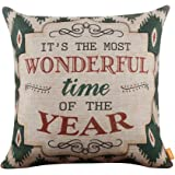 "LINKWELL 18""x18"" Shabby Chic American Style Ikat Happy New Year Burlap Cushion Covers Pillow Case"