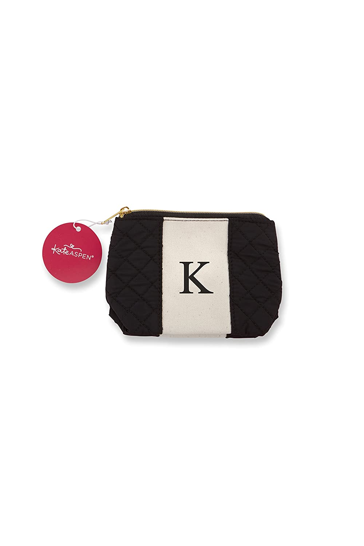 Kate Aspen 29096XK Black and White K Makeup Monogram Make up Bags,