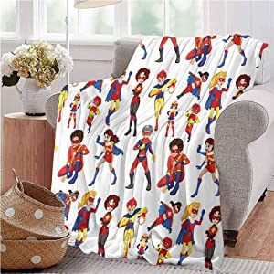 Superhero Nap Blanket Super Heroines Male Female Powers Comic Childhood Imaginary Characters Image Baby Small Fleece Blanket 70x90 Inch Red Blue Yellow Full Size