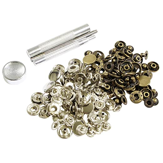 55 opinioni per 80 Bottoni Automatici Argento e Bronzo 15mm Chiusura a Schiocco, Kit Bottoni a