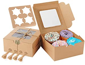 Cake Boxes 6x6x3 Inch, 50 pcs Brown Kraft Bakery Boxes with Window, Cupcakes Box for Pastries, Cookies, Pie, Muffins, Baked Goods, Treats Included Stickers and Packing Twine