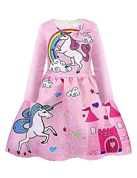 bec8dbead4 Amazon.com  Summer Autumn Girls Sleeveless Unicorn Dress Toddler Long  Sleeve Rainbow Bow Casual Dress 2-12T  Clothing