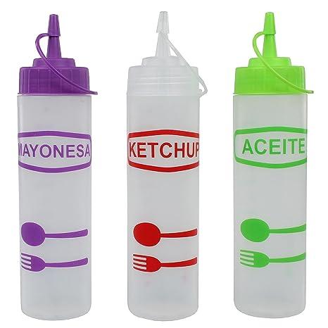 Juego de 3 botellas de plástico/ – Botella dosificadora/dispensador de salsa de botellas