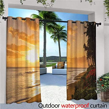 Charmant Hawaiian Patio Curtains Warm Tropical Sunset On Sands Of Kaanapali Beach In  Maui Hawaii Traveling Outdoor
