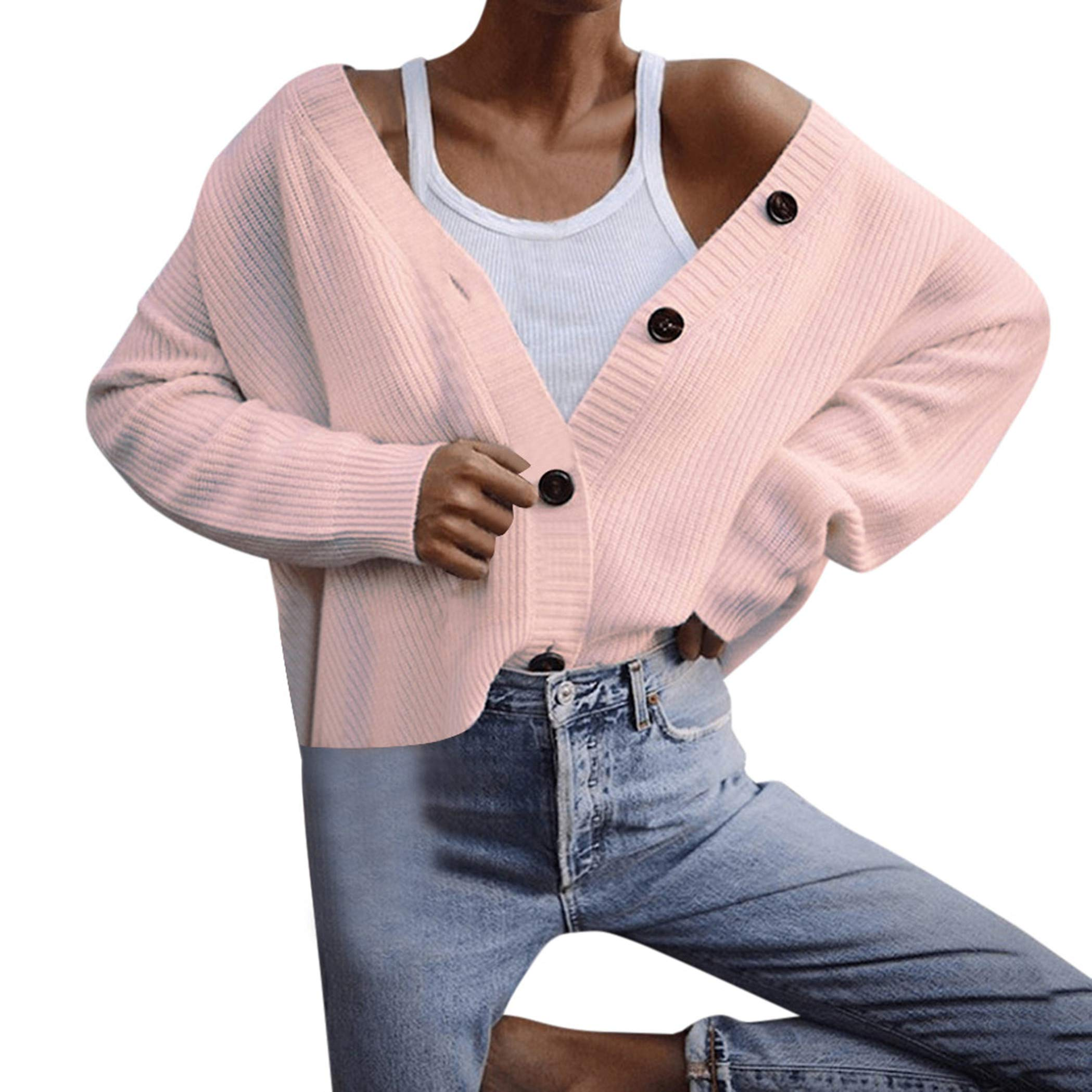 Bollysky Vogue Cozy Cardigan Jacket for Women Long Sleeve Knitwear Open Front Button Cardigan Sweaters Outerwear Fashion Trend Costumes by Bollysky