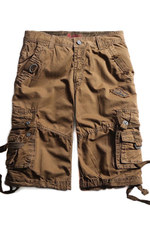 Cyparissus Mens Cargo Shorts Multi Pockets Short for Men (34, Coffee)