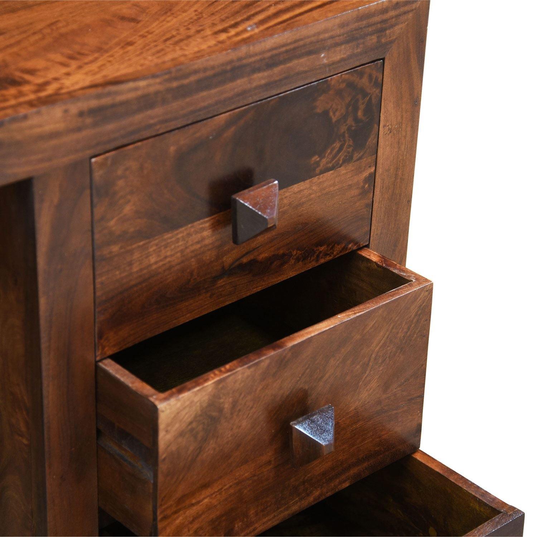 Homescapes Small Dakota Dark Shade Computer Desk, 100% Solid Mango