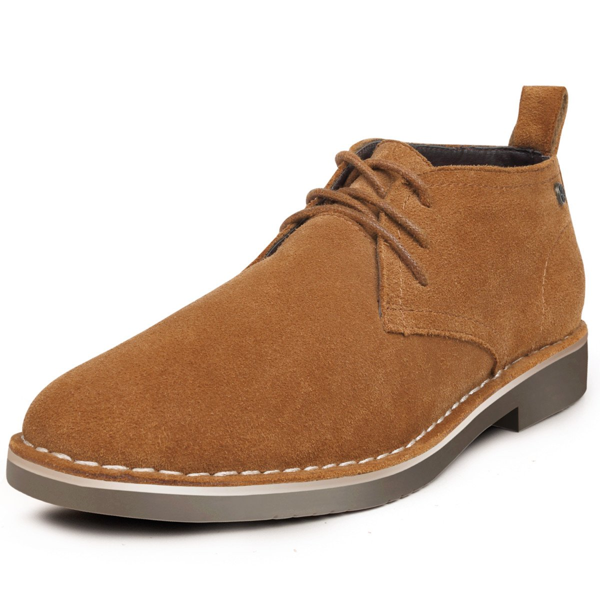 GM GOLAIMAN Genuine Suede Chukka Boots for Men Lace-up Desert Ankle Booties Stylish Leather Shoes Brown 10 D (M) US