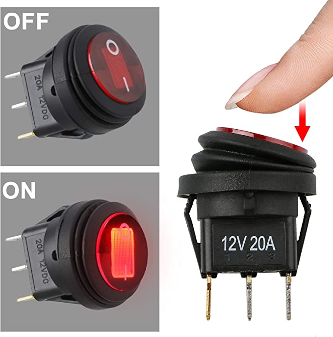 QOFOWIN Toggle Switch 12V 4Pcs+wire Waterproof LED ON//Off Boat Rocker Switch SPST with Pre-soldered Wires,12V 20A//24V 10A Toggle Switches for car blue Light,Truck,Test