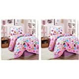 Pack of 2 Compressed Comforter 3 Piece Set for Kids Single size by Stylie, Hearts
