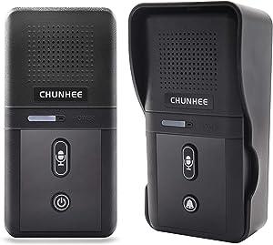 ChunHee Wireless Intercom Doorbell System for Home, Two Way Communication Intercom Doorbells Waterproof Door Bell Chime, 2640ft Long Range with 2800mAh Rechargeable Battery, 10 Chimes & 3 Level Volume