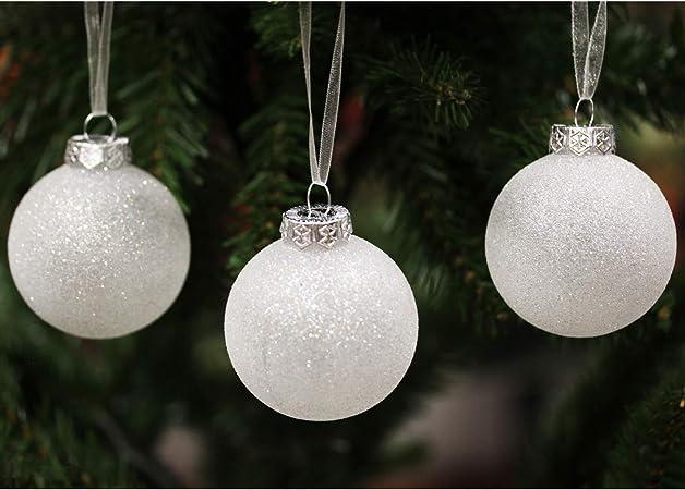 Sleetly Adornos navideños de Bolas de Navidad, Bolas de Nieve Blancas, 60 mm, Juego de 18: Amazon.es: Hogar