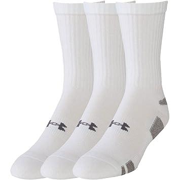Under Armour Boys HeatGear Crew Socks (3 Pack), White, Medium