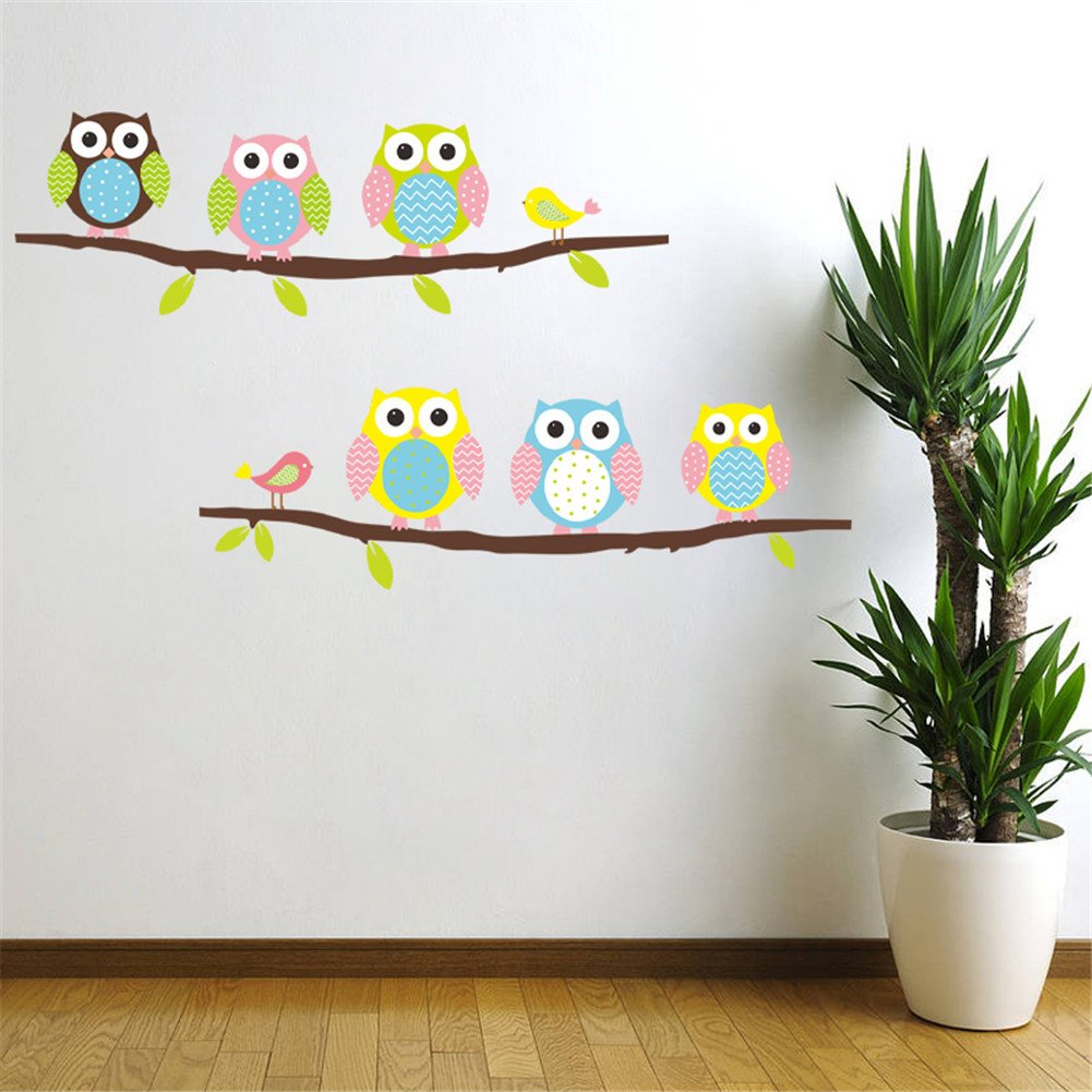 Cartoon Cute Six Owl On The Tree DIY Wall Wallpaper Stickers Art Decor  Mural Kidu0027s Child Room Decal Waterproof: Amazon.co.uk: Office Products Part 86