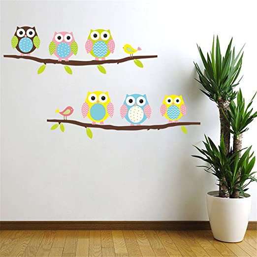 Cartoon cute six owl on the tree diy wall wallpaper stickers art decor mural kids child