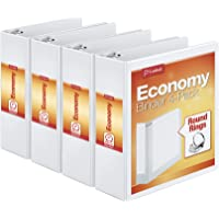 Cardinal 3 Inch 3 Ring Binder, Round Ring, White, 4 Pack, Holds 625 Sheets (00430)