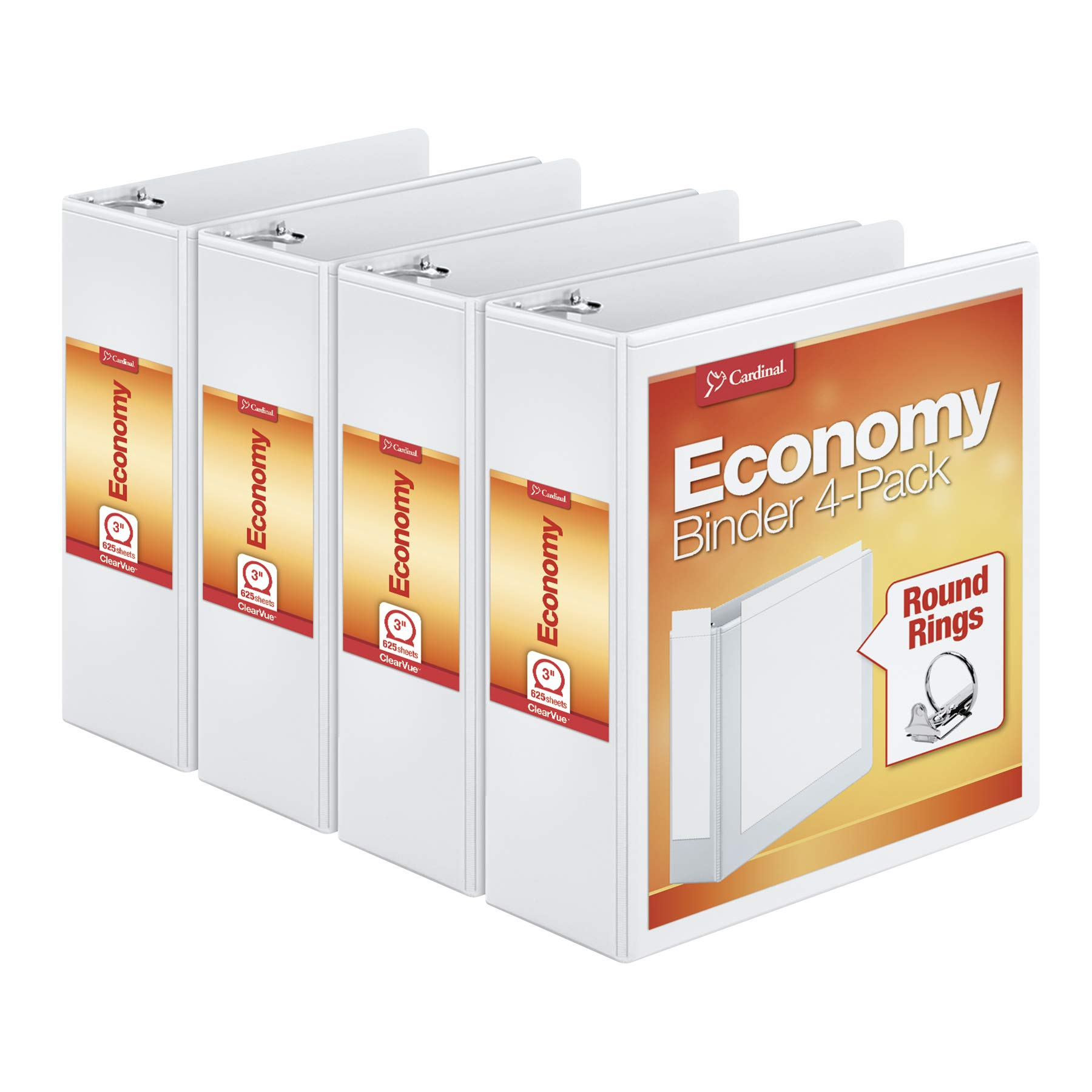 Cardinal 3'' Round-Ring Presentation View Binders, 3-Ring Binder, Holds 625 Sheets, Nonstick Poly Material, PVC-Free, White, 4-Pack (00430) by Cardinal