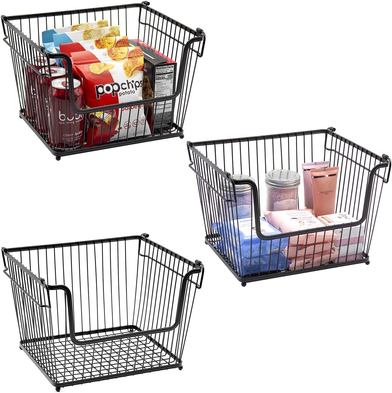 Sorbus Wire Metal Basket Bin, Stackable Storage Baskets, Cubby Bins for Food, Kitchen, Home, Pantry Snack, Vegetable, Potato, Onion, Laundry Room, Office, Farmhouse, Iron Metal (3-Pack, Black)