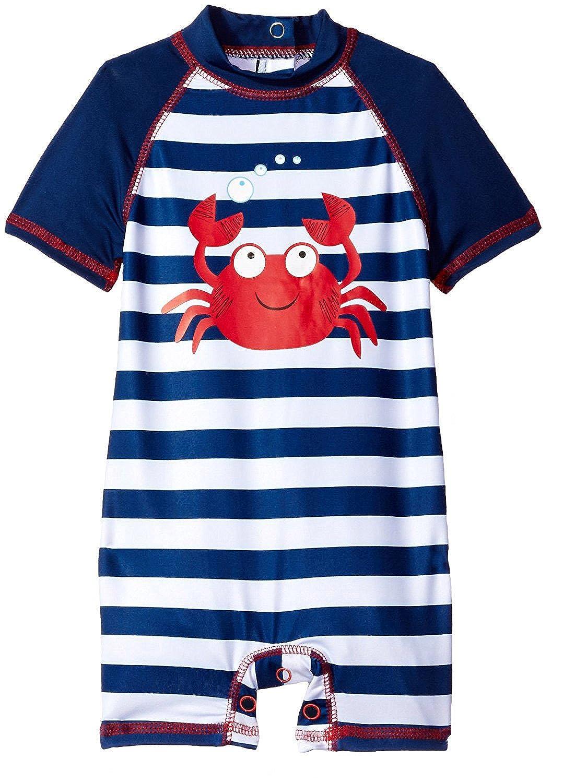 Wippette Baby Boys Swimwear Navy Stripes Cute Crabby 1-Piece Rashguard Swimsuit, Navy, 12 Months